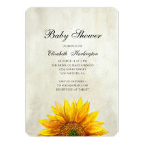 Sunflower baby shower invitation. Rustic flower Card