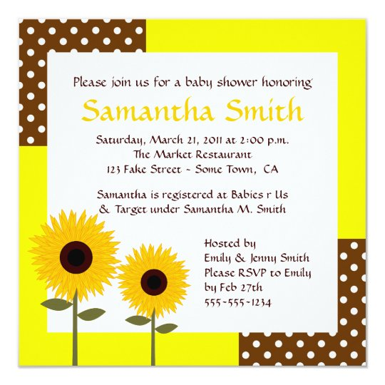 sunflower baby shower invitation  yellow  brown  zazzle, Baby shower invitation