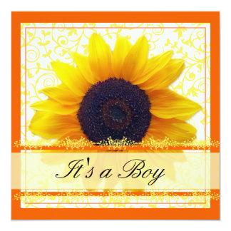 "Sunflower Babyshower Invitation 5.25"" Square Invitation Card"