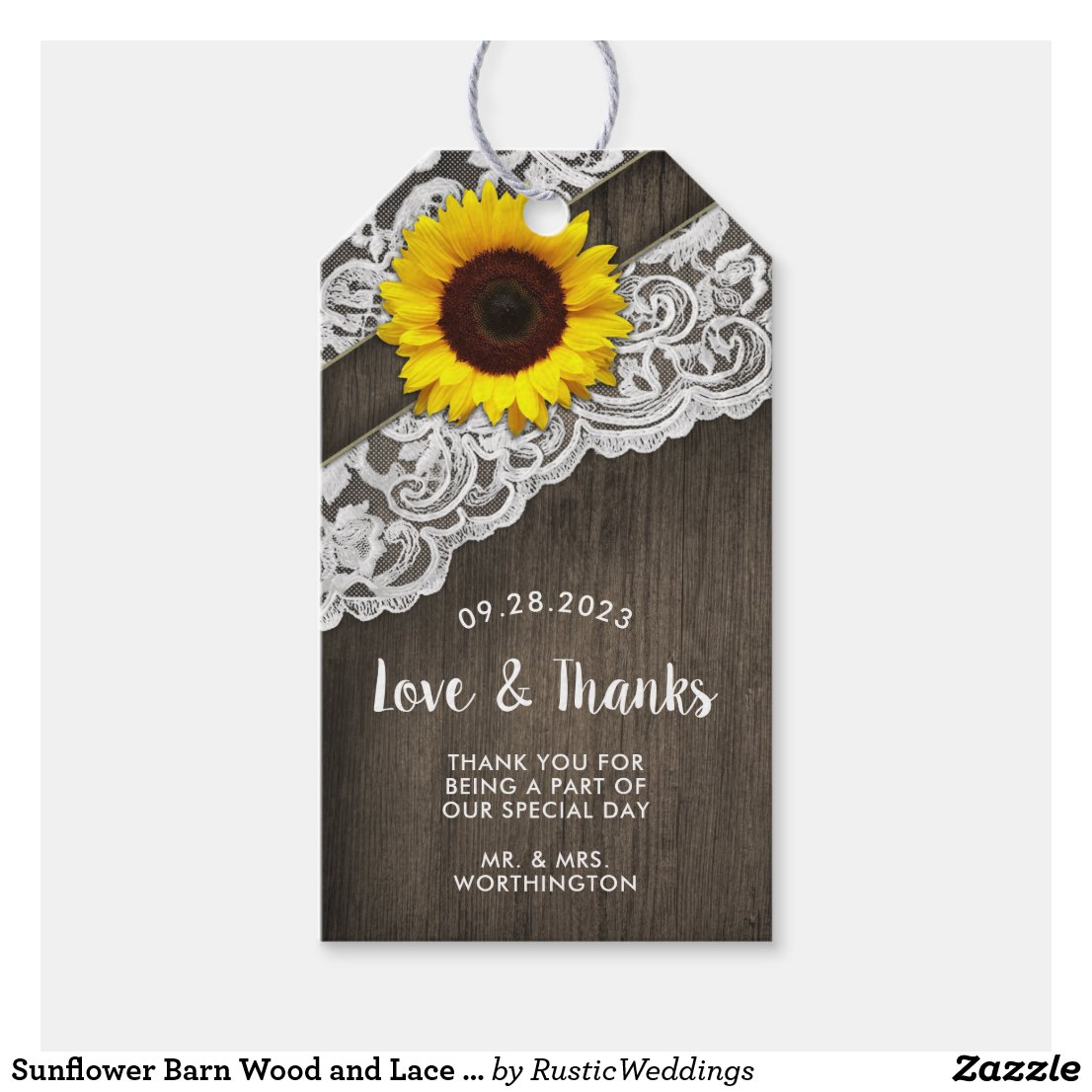 Sunflower Barn Wood and Lace Wedding Favor Tags