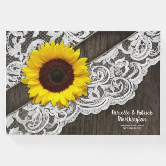 Sunflower Barn Wood and Lace Wedding Guest Book