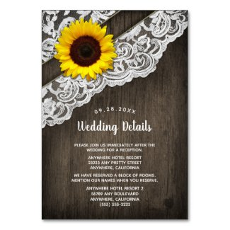 Sunflower Barn Wood and Lace Wedding Insert Cards
