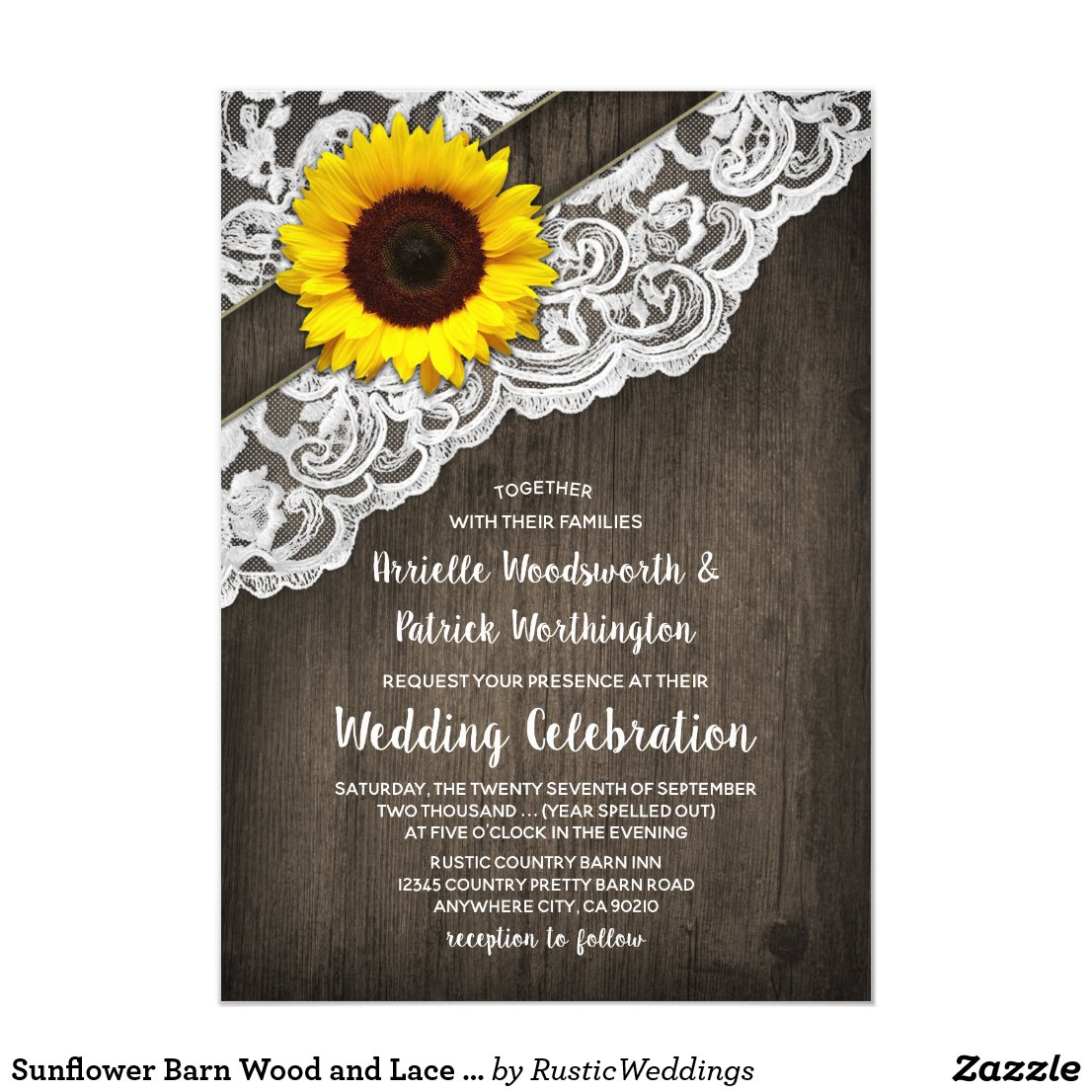 Sunflower Barn Wood and Lace Wedding Invitations