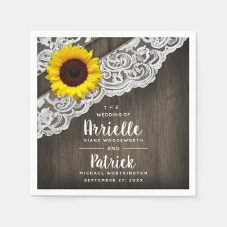 Sunflower Barn Wood and Lace Wedding Napkins