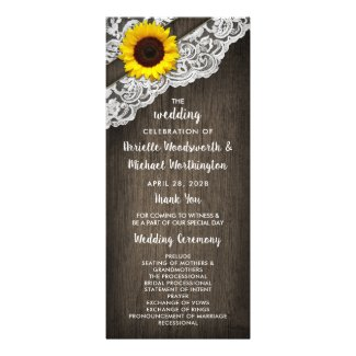 Sunflower Barn Wood and Lace Wedding Programs