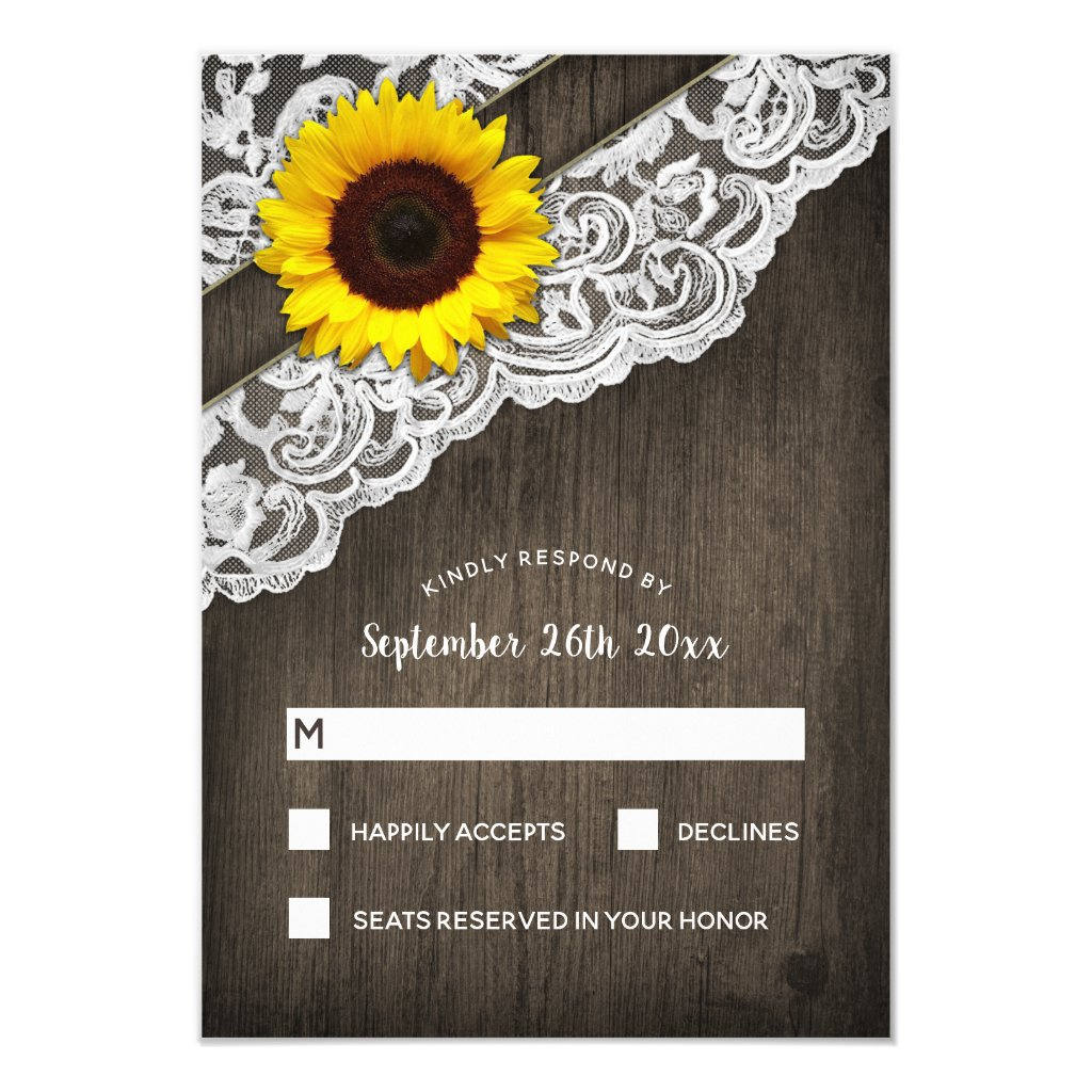 Sunflower Barn Wood and Lace Wedding RSVP Cards