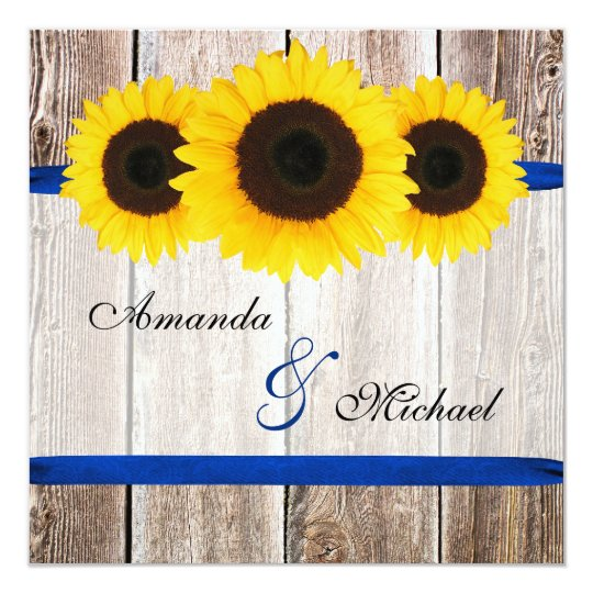 sunflower barn wood blue ribbon wedding card. Black Bedroom Furniture Sets. Home Design Ideas