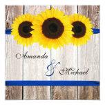 Sunflower Barn Wood Blue Ribbon Wedding 5.25x5.25 Square Paper Invitation Card