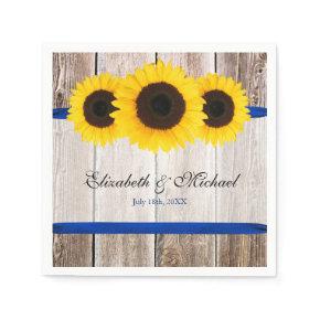 Sunflower Barn Wood Blue Ribbon Wedding Standard Cocktail Napkin