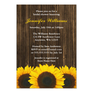 Sunflower Barn Wood Bridal Shower 5x7 Paper Invitation Card