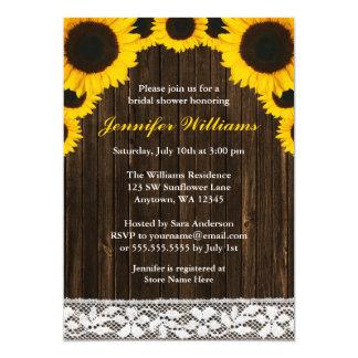 Sunflower Barn Wood Lace Bridal Shower Card