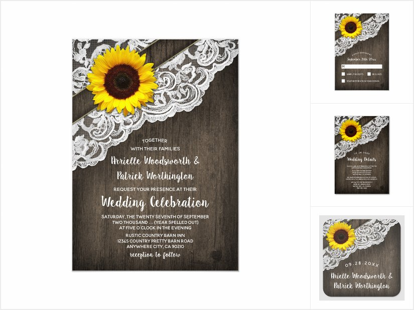 Sunflower Barn Wood + Lace Wedding Invitations Set