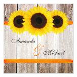 Sunflower Barn Wood Orange Ribbon Wedding Card
