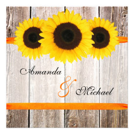Sunflower Barn Wood Orange Ribbon Wedding Custom Invites