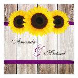 Sunflower Barn Wood Purple Ribbon Wedding Personalized Invite
