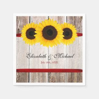 Sunflower Barn Wood Red Ribbon Wedding Napkin