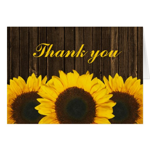Sunflower Barn Wood Thank You Cards