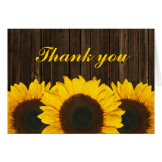 Sunflower Barn Wood Thank You Stationery Note Card