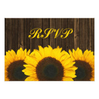 Sunflower Barn Wood Wedding RSVP Response Card Personalized Announcements (<em>$1.85</em>)