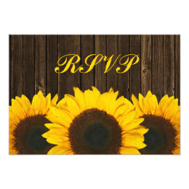 Sunflower Barn Wood Wedding RSVP Response Card Personalized Announcements
