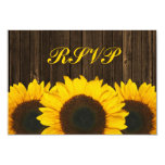 "Sunflower Barn Wood Wedding RSVP Response Card 3.5"" X 5"" Invitation Card"