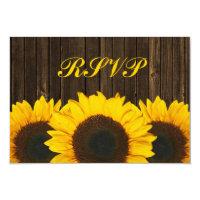 Sunflower Barn Wood Wedding RSVP Response Card 3.5&quot; X 5&quot; Invitation Card (<em>$1.96</em>)