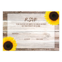 Sunflower Barn Wood Wedding RSVP Response Card Personalized Invitations