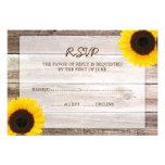 Sunflower Barn Wood Wedding RSVP Response Card Personalized Invitations