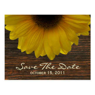 Sunflower & Barnwood Fall Save The Date Postcard