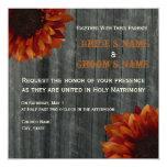 "Sunflower & Barnwood Fall Wedding Invitation 5.25"" Square Invitation Card"