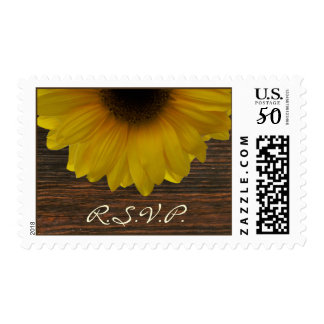 Sunflower & Barnwood Fall Wedding RSVP Postage