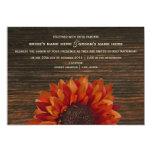Sunflower & Barnwood Rustic Wedding Invitation