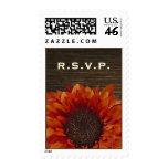 Sunflower & Barnwood Rustic Wedding R.S.V.P. Stamps