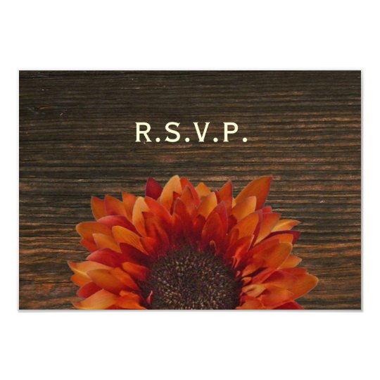 Sunflower & Barnwood Rustic Wedding RSVP Card