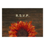 Sunflower & Barnwood Rustic Wedding RSVP Personalized Announcement
