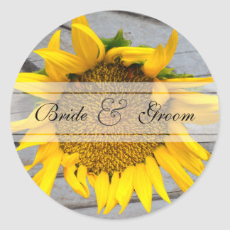 Sunflower Barnwood wedding Classic Round Sticker