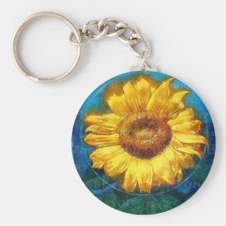 Sunflower Basic Round Button Keychain