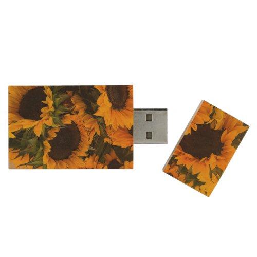 Sunflower Basket Wood Flash Drive