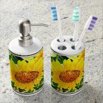 Sunflower Bathroom Combo Soap Dispenser & Toothbrush Holder