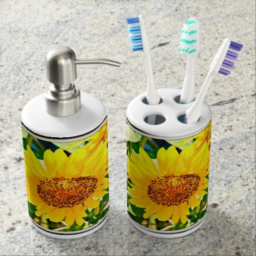 Sunflower Bathroom Combo Soap Dispenser & Toothbrush Holder