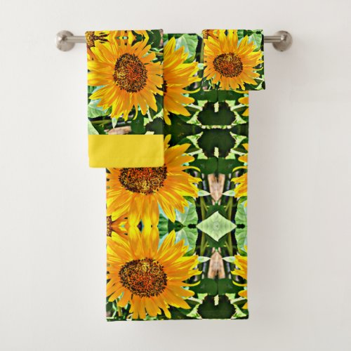 Dazzling Days Sunflower Bath Towel Set · Sunflower Bathroom Towel Set