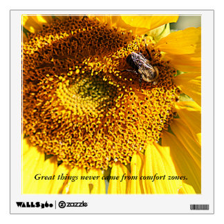 Sunflower Bee & Great things Wall Decal