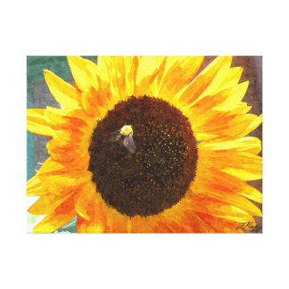 Sunflower Bee poster Canvas Print