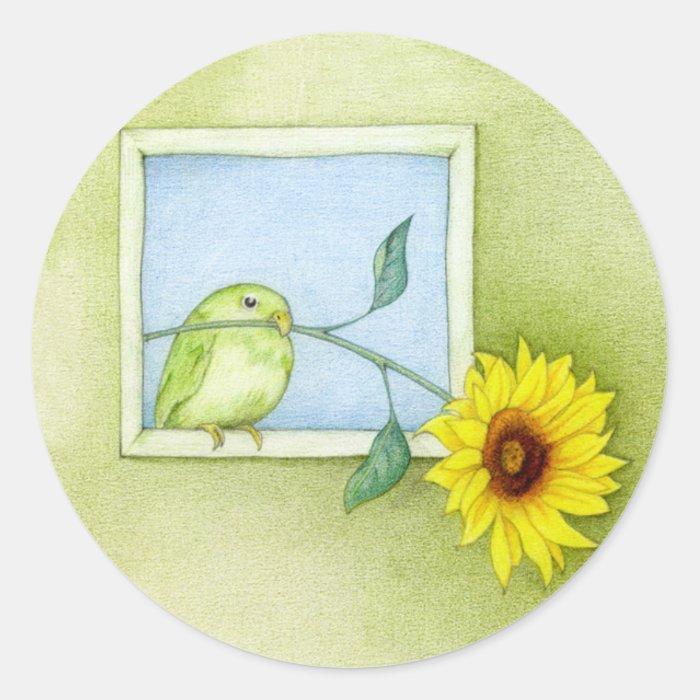Sunflower Bird Sticker