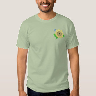 Sunflower Birdhouse Embroidered T-Shirt