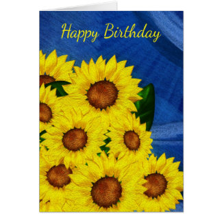 Sunflower Birthday Greeting Card - Digitally Paint