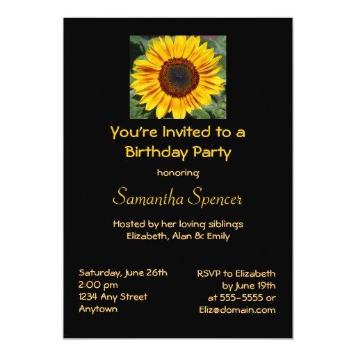 sunflower birthday invitation