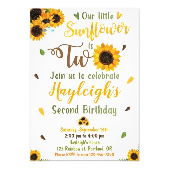 Sunflower birthday invitation 2nd Second birthday