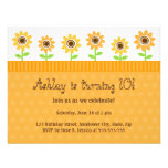 Sunflower birthday party invitation for girls