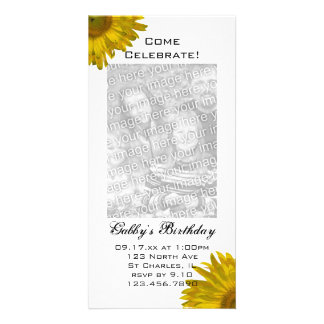 Sunflower Birthday Party Invitation Photo Card